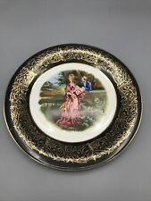 Antique Portrait Cabinet Plate - Courting Couple - Signed