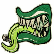 Green Tongue Monster Teeth Horror Kreepsville Embroidered Iron On Applique Patch