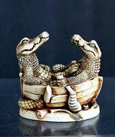 "Harmony Kingdom ""Croc Pot"" Crocodiles in Boat Crushed Marble Trinket Box Made in"