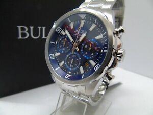 BULOVA MARINE STAR 96B256 MENS CHRONOGRAPH **NEW** BLUE DIAL RRP £329