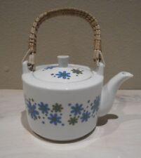 Vintage Retro Floral Japanese Tea Pot Porcelain Japan Bamboo Handle 2 Cups