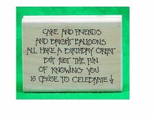 Birthday Celebrate Rubber Stamp 1992 G947 - Care and Friends Quote SL4901