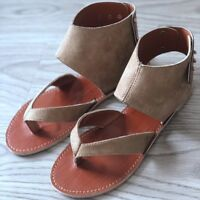 Women Summer Sandals Gladiator Casual Suede Leather Shoes Clip Toe Flip Flops