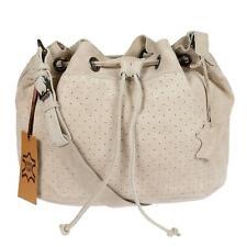 Echt Leder Damen Tasche Schultertasche Beuteltasche Umhängetasche Beige Natur