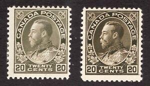 #119 & 119c - 1912-25 Canada 20 cent Admiral - cv $170 as F+ - MH - Superfleas