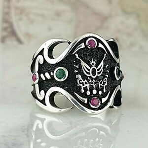 Solid 925 Sterling Silver Men Ring Ruby & Green Agate Gemstone Handmade Ottoman