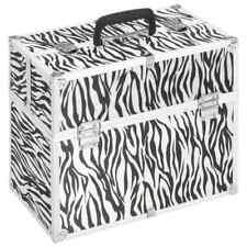 vidaXL Make-up Case Zebra Stripe Aluminium Makeup Train Case Storage Organiser