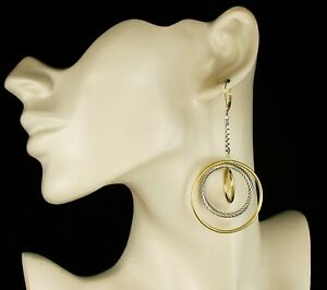 DAVID YURMAN SIGNED LARGE 18K GOLD & STERLING LONG DANGLE MOBILE CABLE EARRINGS