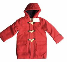 JoJo Maman Bebe Girls Size 2 - 3 Years Red Hooded Winter Duffle Coat FREE SHIP
