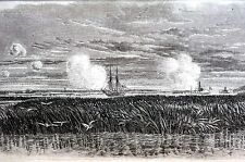 James Island 1865 CHARLESTON ADVANCE COM. M'DONOUGH Matted Civil War Engraving
