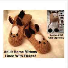 deLux BEIGE HORSE MITTENS knit ADULT mens womens FLEECE LINED mitts HAT SEPARATE