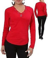 L3 NEW SEXY Women's TOP Red Blouse Shirt Beaded Cotton PLUS SIZE 1 XL