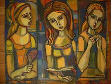 IRVING AMEN ORIGINAL OIL PAINTING - 3 WOMEN - 20 x 24