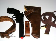 Indiana Jones Raiders Leather Holster with Gun,Belts,Gunholder& Bull Whip Holder