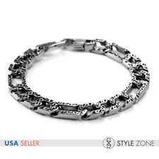 Men's Gothic Vintage Texture O Link Chain Stainless Steel Bracelet Cool Punk B48