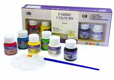 Fabric Permanent Paint Set for Textiles & Clothing with Brush & Palette 6 Colors