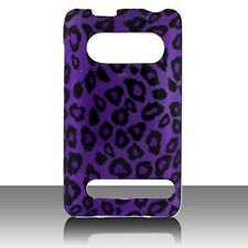 For Sprint HTC EVO 4G Protector Hard Case Snap on Phone Cover Purple Leopard