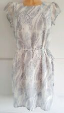 Ladies VILA £32 RRP Ivory Blue Reptile Animal Print Occasion Dress Size S UK 10