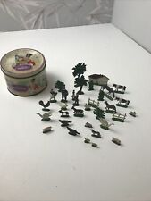 Vintage cast iron farm animals old Toys With Vintage Sweet Box