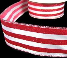 5 Yd Christmas Peppermint Candy Red White Glitter Stripe Striped Wired Ribbon 2