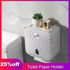 Toilet Roll Holder Waterproof Bathroom Paper Towel Box Wall Mount Tissue Storage
