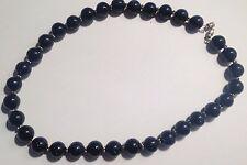 collier vintage perles de verre bleu nuit  pailletées  380