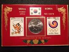1988 Olympic Games Seoul COMMEMORATION THE '88 Olympic Stamps Table Tennis Coin