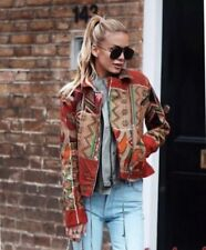 Zara Red Embroidered Patchwork Biker Jacket Size M UK 12 Bnwt
