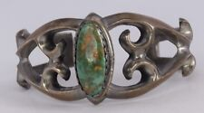 Native American sandcast Sterling & Turquoise cuff bracelet WILFRED B. HENRY