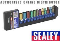 "Sealey Multi-Coloured 6 Side Hex Socket Set 12pc 1/4"" Drive Metric 4-13mm AK282"