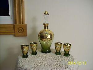 Wine Decanter & 4 Glasses Czechoslovakia Bohemian Venetian Green Enameled Floral