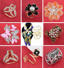 Elegant Scarf Buckle Ring Clip Flower Holder Women Ladies Jewelry Gifts Fashion