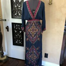 Flying Tomato  Kimono Maxi Dress Long Sleeve Casual V Neck Xs