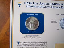 US COINS 1984 YEAR LOS ANGELES SUMMER GAMES COMMEMORATIVE SILVER DOLLAR + STAMP