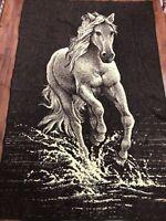 """Vintage Biederlack Blanket Throw Reversible Horse Foal Brown Tan 80"""" X 54"""" EUC!"""