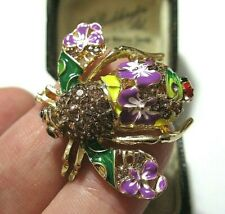Gorgeous Vintage Style BEE Insect Enamel Crystal Jewellery Signed BROOCH Pin