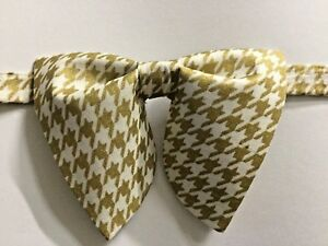 Oversized Gold/White Houndstooth Bow tie Vintage style 70s Wedding Prom Gift