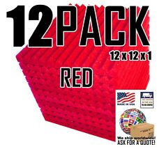 """12 pc RED Acoustic foam Soundproofing Recording Studio Wall Tile12x12x1"""" wedge"""