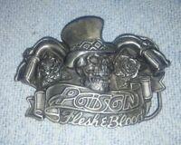 WOW Vintage  POISON Flesh & Blood Rock Band Skull Biker Belt Buckle Rare