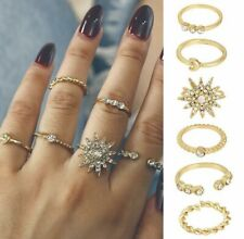 Luxury Boho Festival Party Boutique Uk Gold Moon Star Stackable Rings Fashion