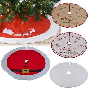 Santa Reindeer Greetings Christmas Tree Skirt Tree Xmas Festive Cover Decoration