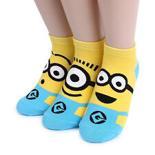 MINIONS CARTOON SOCKS 3 pairs=1 pack women girl cute SHIP FROM USA