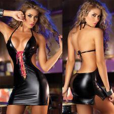 schwarz Leder Kleid mit V-Ausschnitt Lack-Wäsche rückenfrei Minikleid für Party