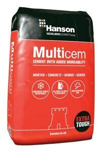 Hanson Multicem Cement 25kg Plastic Bag Mortar Concrete Cement Collection Only