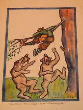 1930'S GERMAN WATERCOLOR PAINTING FOLK, COMICAL SIGNED BY ARTIST - RARE **