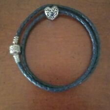 Pandora leather braided bracelet with heart charm