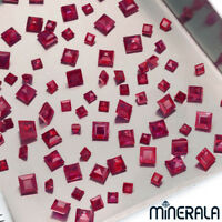[WHOLESALE] NATURAL BURMA RUBY GEMSTONE FACETED SQUARE SHAPE V.SIZE LOOSE STONE