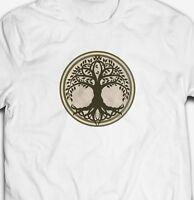 RETRO CELTIC TREE OF LIFE CIRCLE NATURE OUTDOORS 100% COTTON MENS T-SHIRT TSHIRT