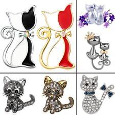 Fashion Animal Rhinestone Crystal Cat Brooch Pin Women Costume Jewelry Gift Hot