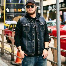 Men Vintage Stonewashen Motorcycle Denim Vest Jeans Jackets Sleeveless Waistcoat